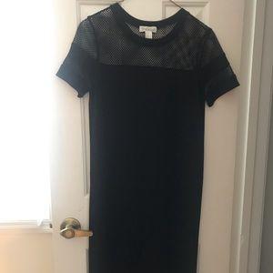 FOREVER21 Midi Bodycon Black Mesh Dress